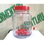 Банка стеклянная с гидрозатвором и краном 9 литров.