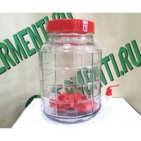Банка стеклянная с гидрозатвором и краном 15 литров.