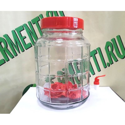 Купить Банка стеклянная с гидрозатвором и краном 15 литров.