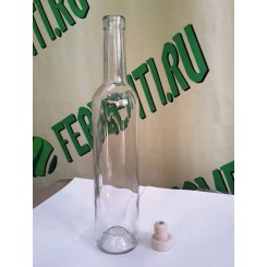 Бутылка коньячная, 0,5 л, с пробкой.