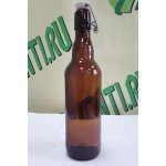 Бутылка с бугельной пробкой, коричневая, 0,5 л