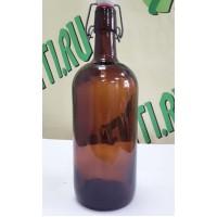Бутылка с бугельной пробкой, коричневая, 1 л