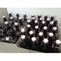 Бутылка с бугельной пробкой, коричневая, 0,5 л - 24 шт, картонная коробка.