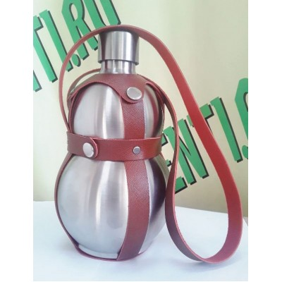 Купить Бутылка стальная тыква 1,5 литра, в кожаном чехле