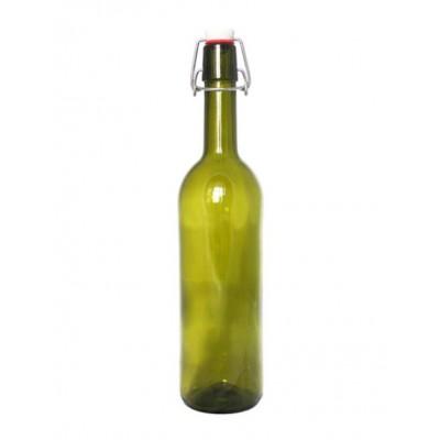Купить Бутылка с бугельной пробкой, 0,75 л, зеленое стекло