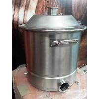 Куб 24 литра с конусной крышкой, кламп 2,  зиговка, нерж 304