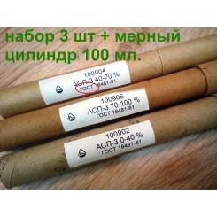 Набор ареометров АСП-3, 0-40, 40-70, 70-100 + мерный цилиндр 100 мл