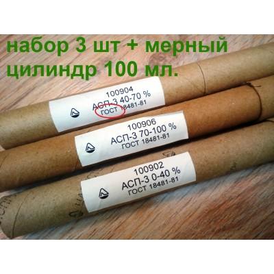 Купить Набор ареометров АСП-3 (ГОСТ-18481-81), 0-40, 40-70, 70-100 + мерный цилиндр 100 мл