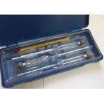 Набор ареометров 0-40, 40-70, 70-100 + термометр спиртовой, пластиковый футляр.