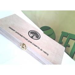 Набор ареометров АСП-3 + термометр, в деревянной коробке.