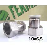 """Фитинг 1/2"""" для пневмошланга 10*6,5 мм, внутренняя резьба, никель"""